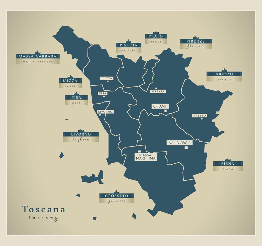 Tuscany itinerary map