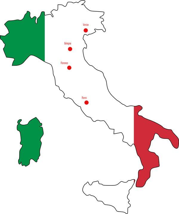 Italy itinerary map